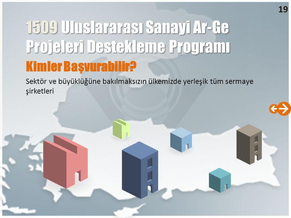 Kimler Başvurabilir? Sektör ve büyüklüğüne bakılmaksızın ülkemizde yerleşik tüm sermaye şirketleri 19 1509 Uluslararası Sanayi Ar-Ge Projeleri Destekl