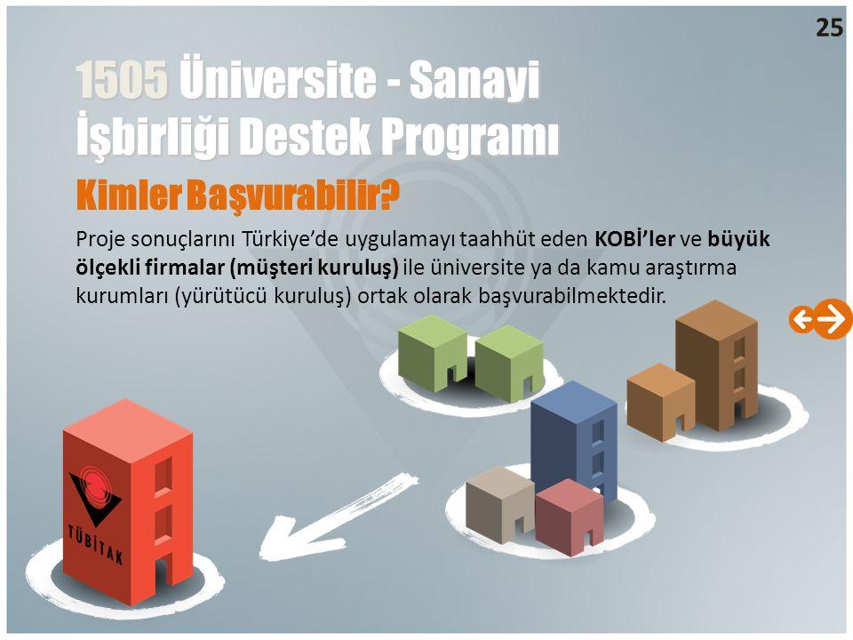 Kimler Başvurabilir? Proje sonuçlarını Türkiye'de uygulamayı taahhüt eden KOBİ'ler ve büyük ölçekli firmalar (müşteri kuruluş) ile üniversite ya da ka