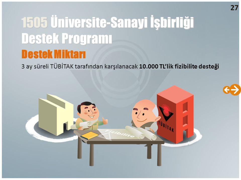 Destek Miktarı 3 ay süreli TÜBİTAK tarafından karşılanacak 10.000 TL'lik fizibilite desteği 1505 Üniversite-Sanayi İşbirliği Destek Programı 27