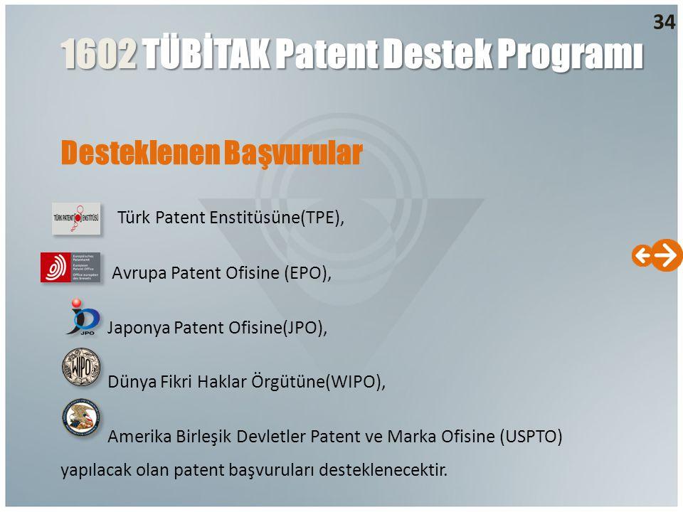 34 Desteklenen Başvurular Türk Patent Enstitüsüne(TPE), Avrupa Patent Ofisine (EPO), Japonya Patent Ofisine(JPO), Dünya Fikri Haklar Örgütüne(WIPO), A