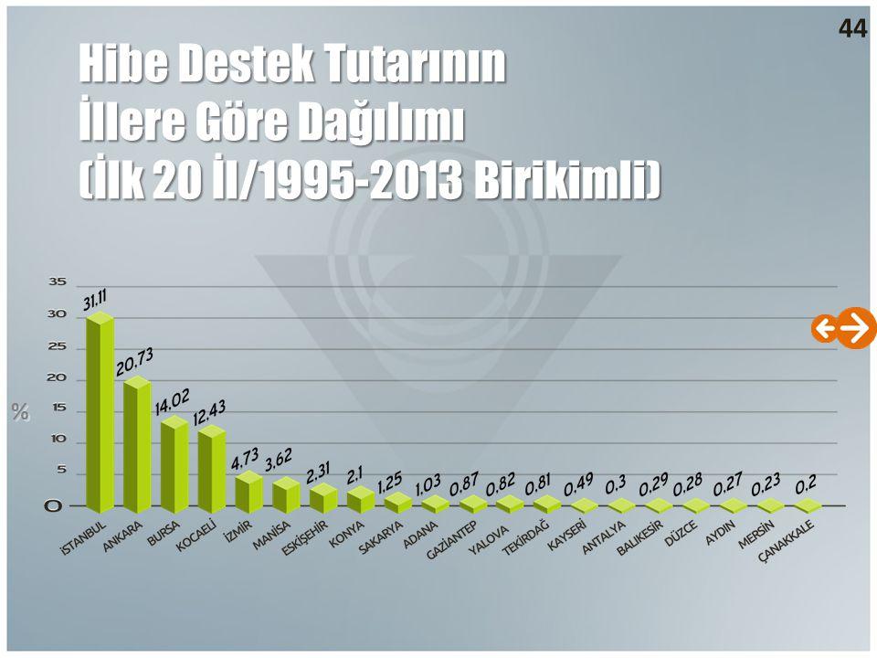 44 Hibe Destek Tutarının İllere Göre Dağılımı (İlk 20 İl/1995-2013 Birikimli) % %