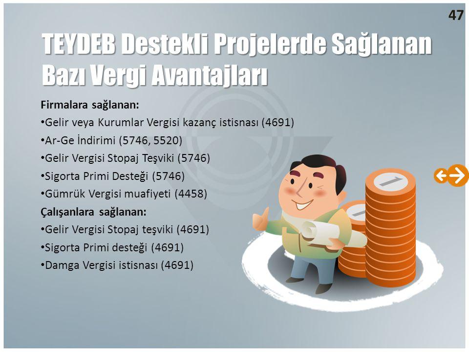 47 TEYDEB Destekli Projelerde Sağlanan Bazı Vergi Avantajları Firmalara sağlanan: Gelir veya Kurumlar Vergisi kazanç istisnası (4691) Ar-Ge İndirimi (