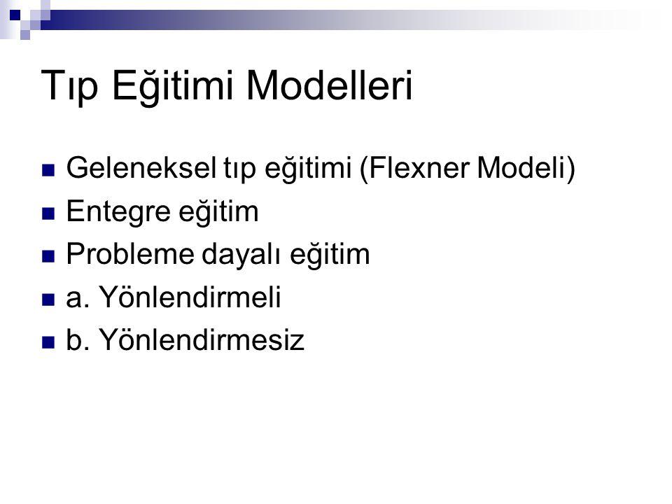 Tıp Eğitimi Modelleri Geleneksel tıp eğitimi (Flexner Modeli) Entegre eğitim Probleme dayalı eğitim a.