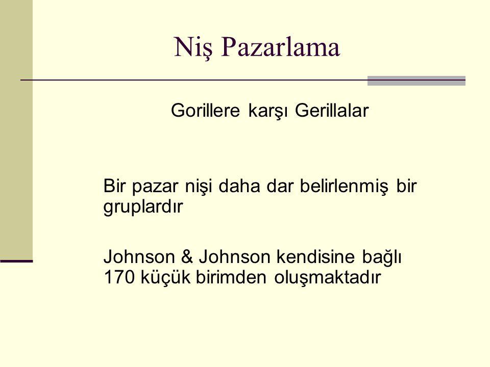 Niş Pazarlama Gorillere karşı Gerillalar Bir pazar nişi daha dar belirlenmiş bir gruplardır Johnson & Johnson kendisine bağlı 170 küçük birimden oluşm