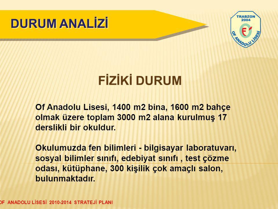 DURUM ANALİZİ FİZİKİ DURUM Of Anadolu Lisesi, 1400 m2 bina, 1600 m2 bahçe olmak üzere toplam 3000 m2 alana kurulmuş 17 derslikli bir okuldur.