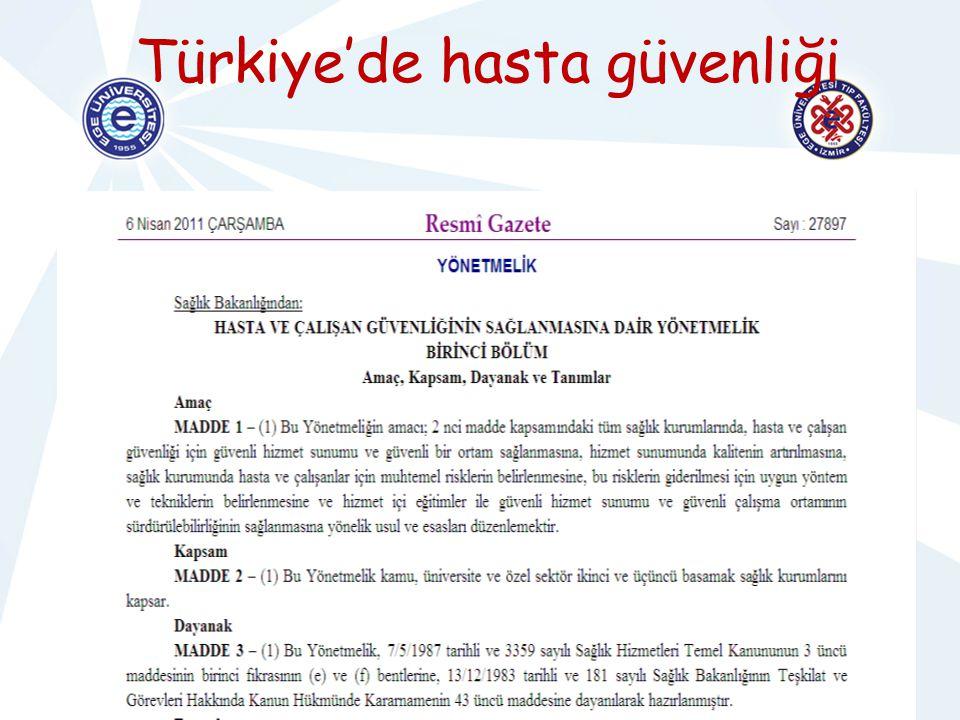 HASTA GÜVENLİĞİHEMŞİRELİK HİZMETLERİ YÖNETİMİ Türkiye'de hasta güvenliği