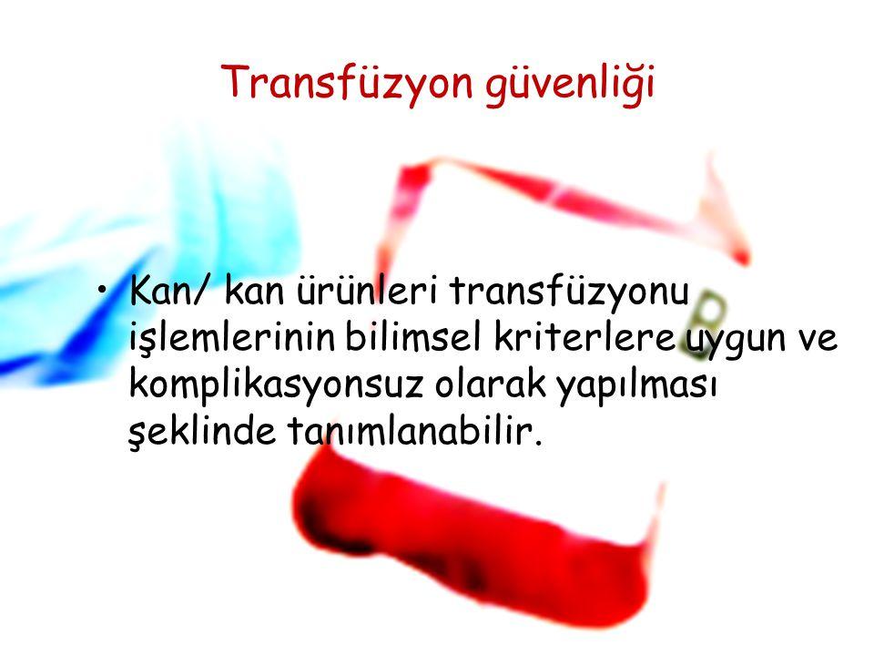 HASTA GÜVENLİĞİHEMŞİRELİK HİZMETLERİ YÖNETİMİ Transfüzyon güvenliği Kan/ kan ürünleri transfüzyonu işlemlerinin bilimsel kriterlere uygun ve komplikas