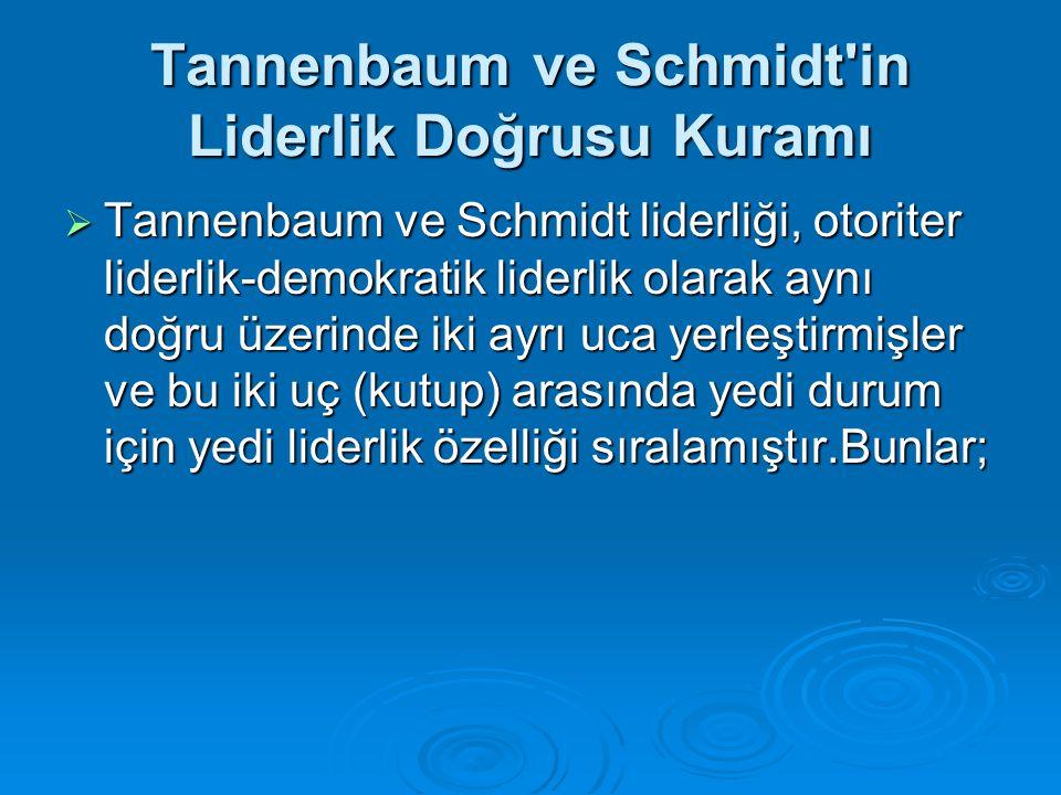 Tannenbaum ve Schmidt'in Liderlik Doğrusu Kuramı  Tannenbaum ve Schmidt liderliği, otoriter liderlik-demokratik liderlik olarak aynı doğru üzerinde i