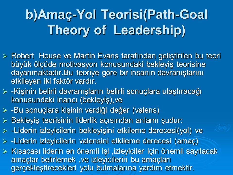 b)Amaç-Yol Teorisi(Path-Goal Theory of Leadership)  Robert House ve Martin Evans tarafından geliştirilen bu teori büyük ölçüde motivasyon konusundaki