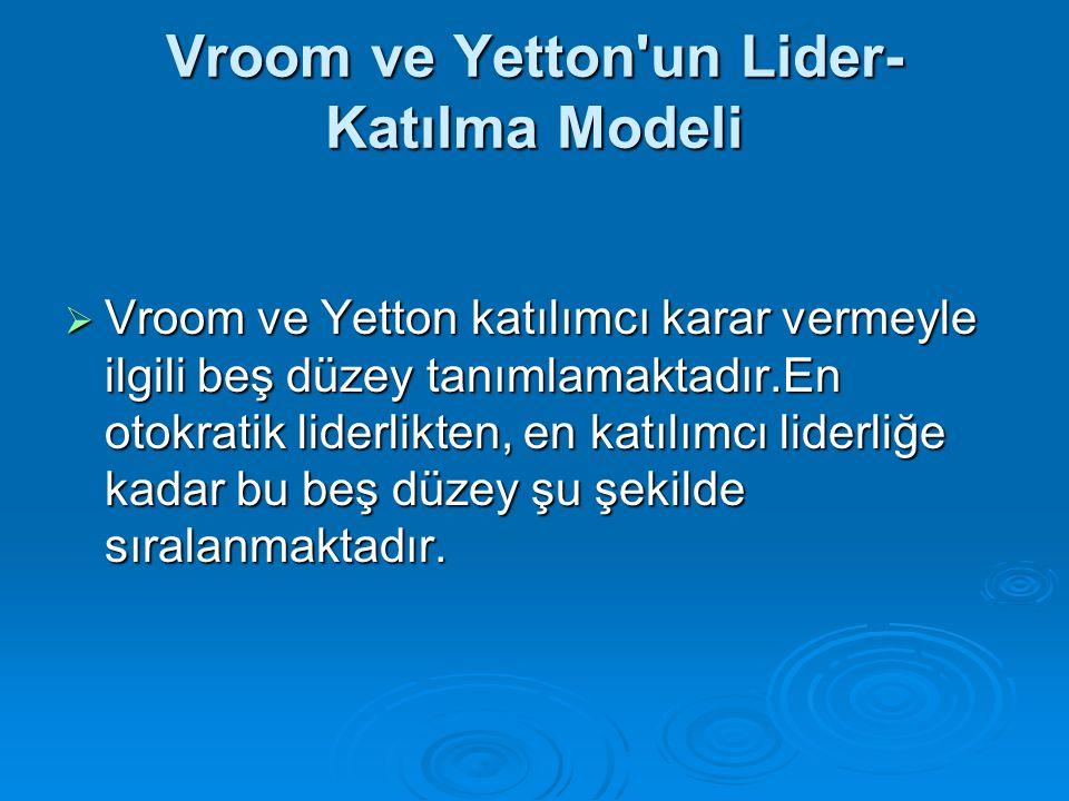 Vroom ve Yetton'un Lider- Katılma Modeli  Vroom ve Yetton katılımcı karar vermeyle ilgili beş düzey tanımlamaktadır.En otokratik liderlikten, en katı