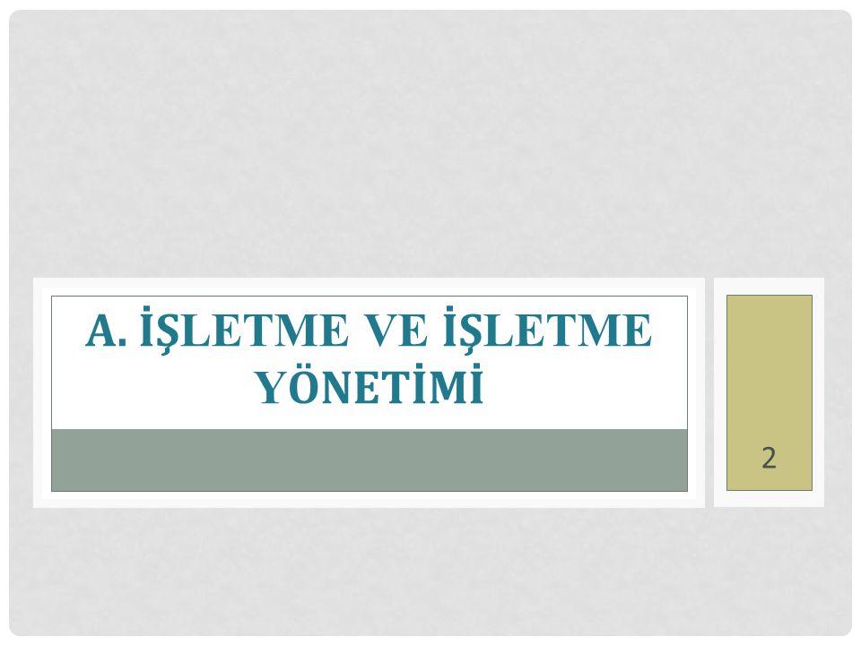 A. İŞ LETME VE İŞ LETME Y ÖNETİMİ 2