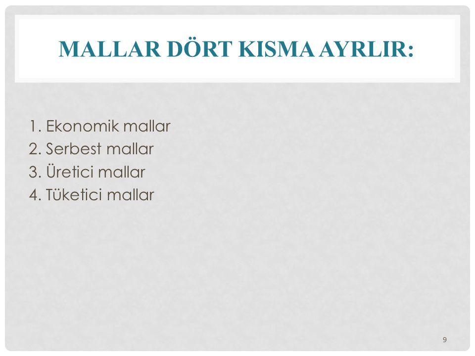 MALLAR DÖRT K I SMA AYRL I R: 1. Ekonomik mallar 2. Serbest mallar 3. Üretici mallar 4. Tüketici mallar 9