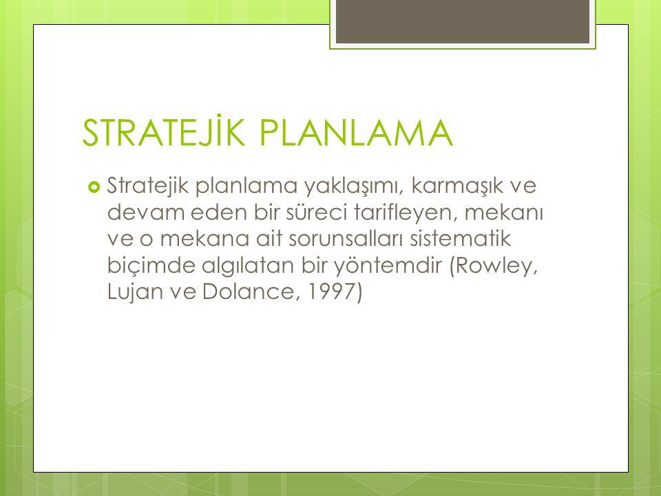STRATEJİK PLANLAMA  Stratejik planlama yaklaşımı, karmaşık ve devam eden bir süreci tarifleyen, mekanı ve o mekana ait sorunsalları sistematik biçimde algılatan bir yöntemdir (Rowley, Lujan ve Dolance, 1997)
