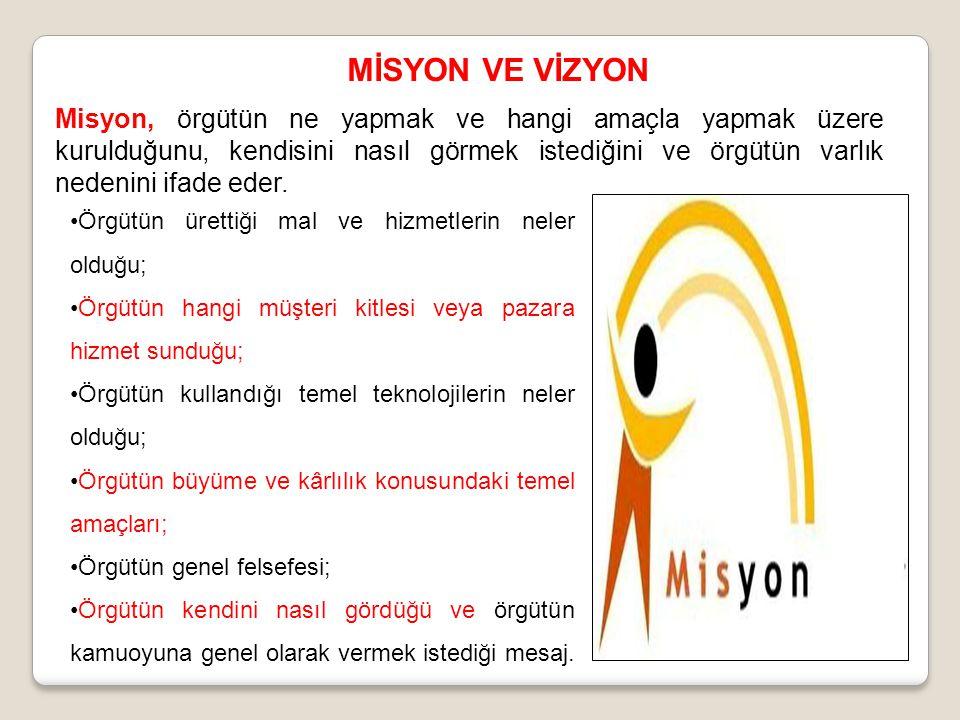 MİSYON VE VİZYON Misyon, örgütün ne yapmak ve hangi amaçla yapmak üzere kurulduğunu, kendisini nasıl görmek istediğini ve örgütün varlık nedenini ifad