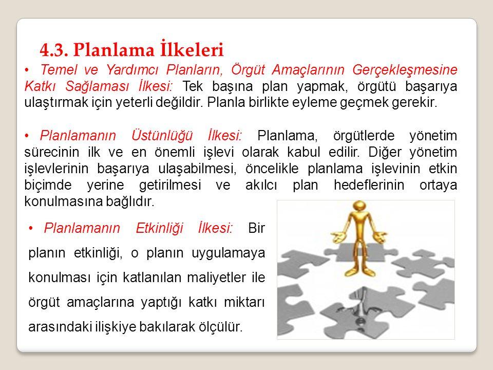 4.3. Planlama İlkeleri Temel ve Yardımcı Planların, Örgüt Amaçlarının Gerçekleşmesine Katkı Sağlaması İlkesi: Tek başına plan yapmak, örgütü başarıya