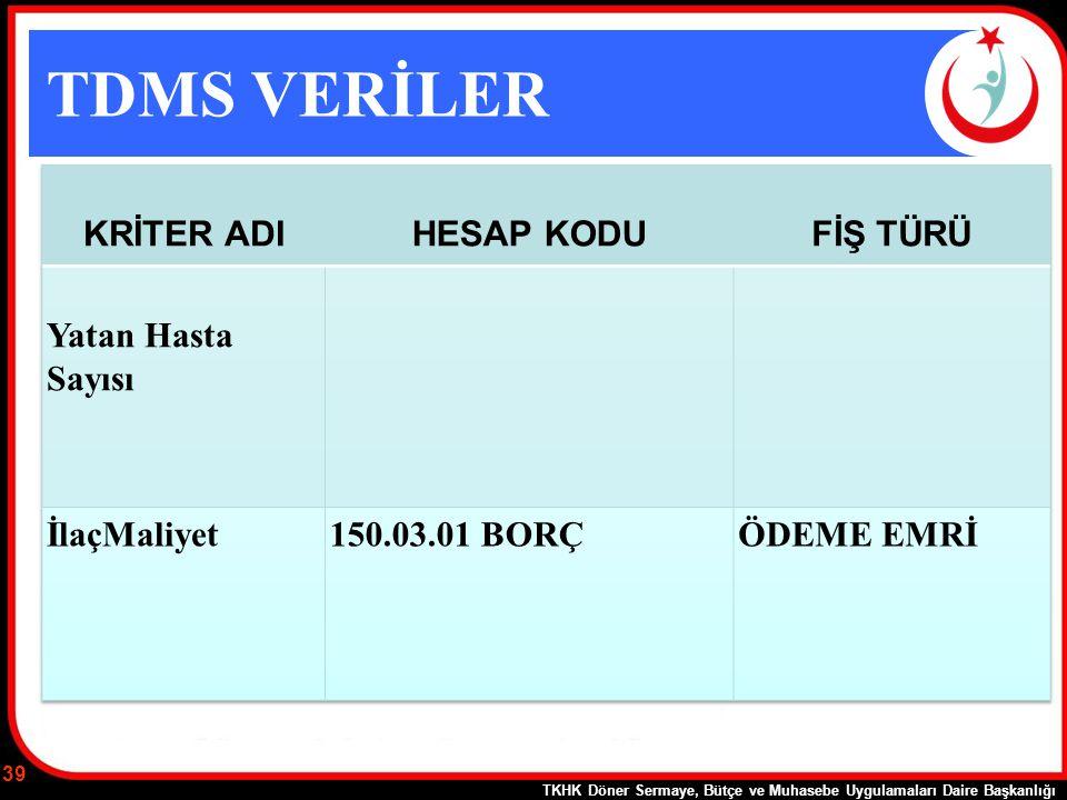 TDMS VERİLER TKHK Döner Sermaye, Bütçe ve Muhasebe Uygulamaları Daire Başkanlığı 39
