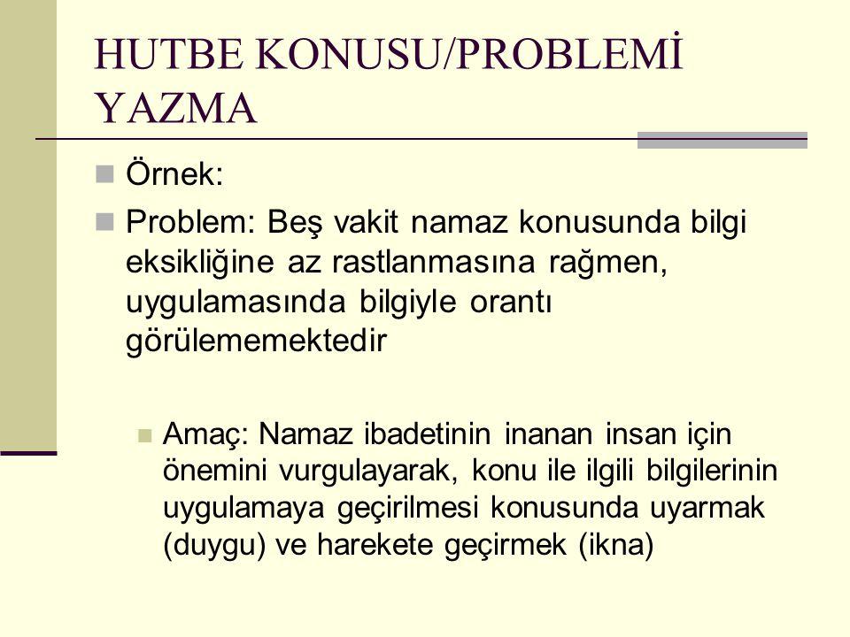 HUTBE KONUSU/PROBLEMİ YAZMA Örnek: Problem: Beş vakit namaz konusunda bilgi eksikliğine az rastlanmasına rağmen, uygulamasında bilgiyle orantı görülem