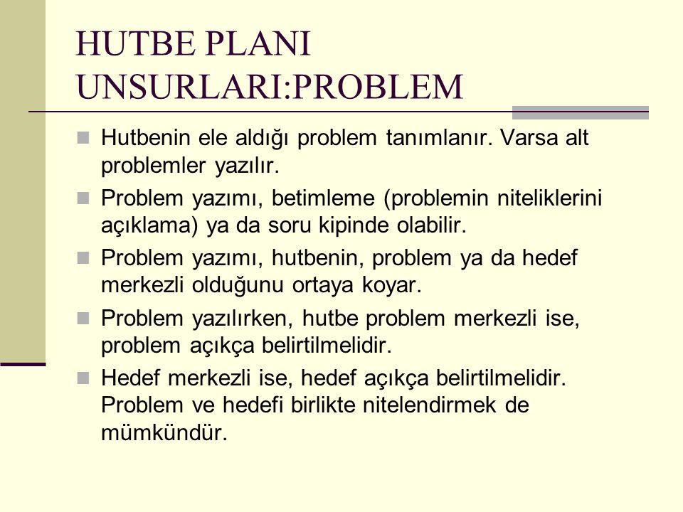 HUTBE PLANI UNSURLARI:PROBLEM Hutbenin ele aldığı problem tanımlanır. Varsa alt problemler yazılır. Problem yazımı, betimleme (problemin niteliklerini