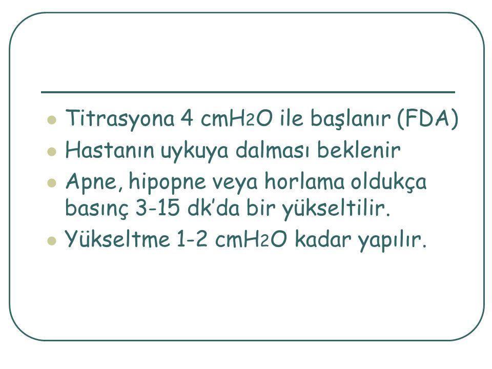 Titrasyona 4 cmH 2 O ile başlanır (FDA) Hastanın uykuya dalması beklenir Apne, hipopne veya horlama oldukça basınç 3-15 dk'da bir yükseltilir.