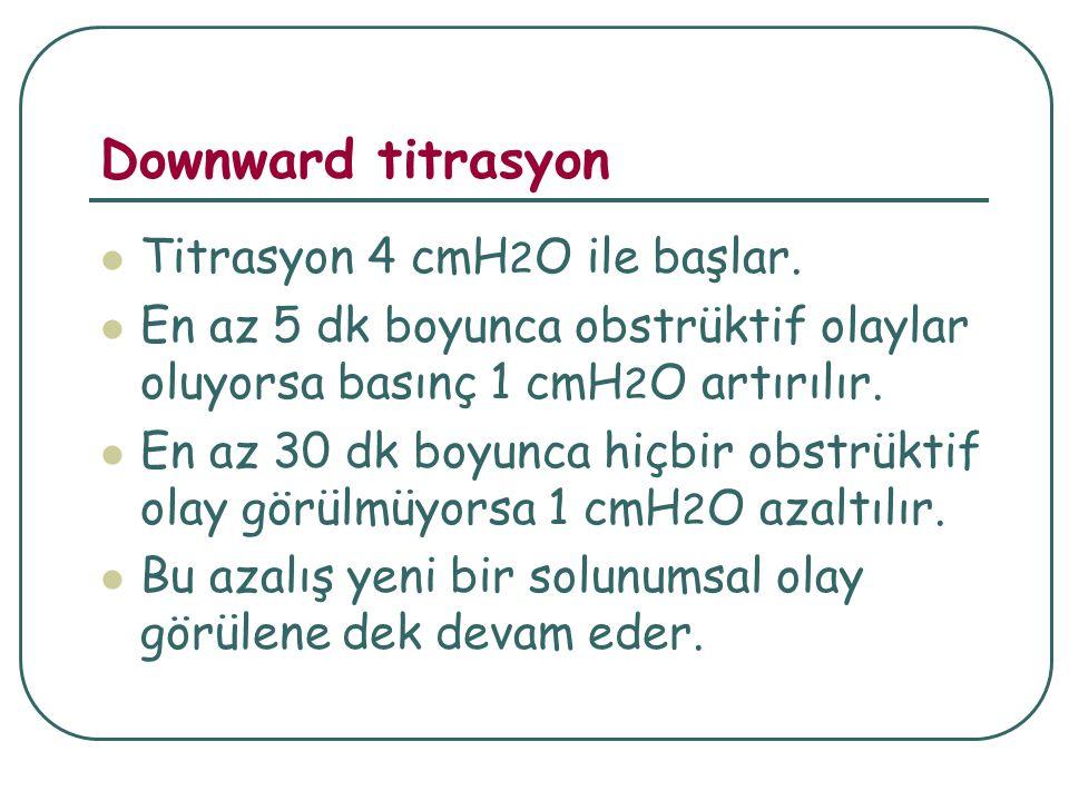 Downward titrasyon Titrasyon 4 cmH 2 O ile başlar.