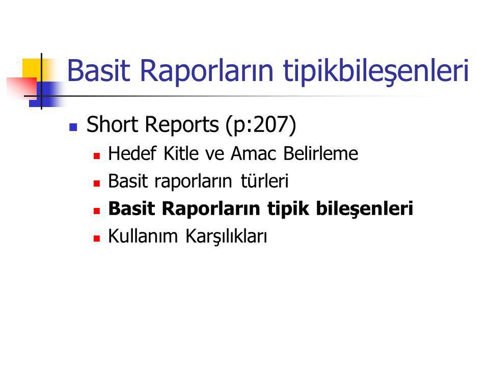 Basit Raporların tipikbileşenleri Short Reports (p:207) Hedef Kitle ve Amac Belirleme Basit raporların türleri Basit Raporların tipik bileşenleri Kull