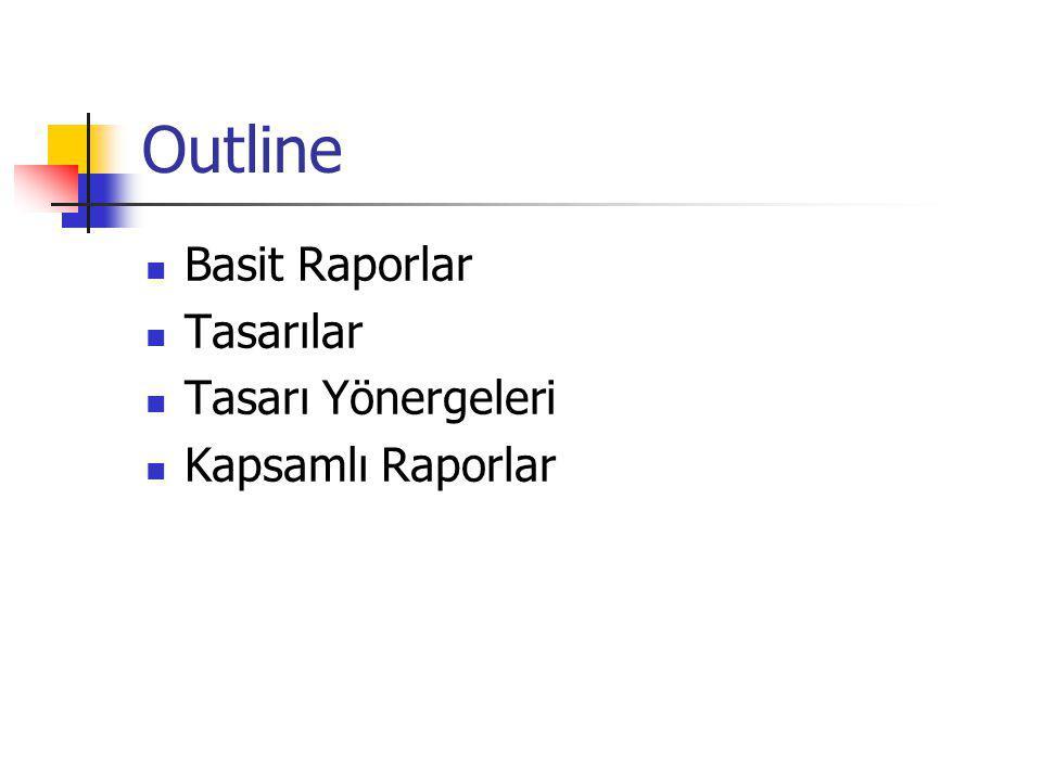 Outline Basit Raporlar Tasarılar Tasarı Yönergeleri Kapsamlı Raporlar