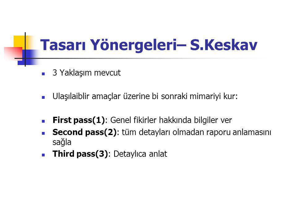 Tasarı Yönergeleri– S.Keskav 3 Yaklaşım mevcut Ulaşılaiblir amaçlar üzerine bi sonraki mimariyi kur: First pass(1): Genel fikirler hakkında bilgiler ver Second pass(2): tüm detayları olmadan raporu anlamasını sağla Third pass(3): Detaylıca anlat