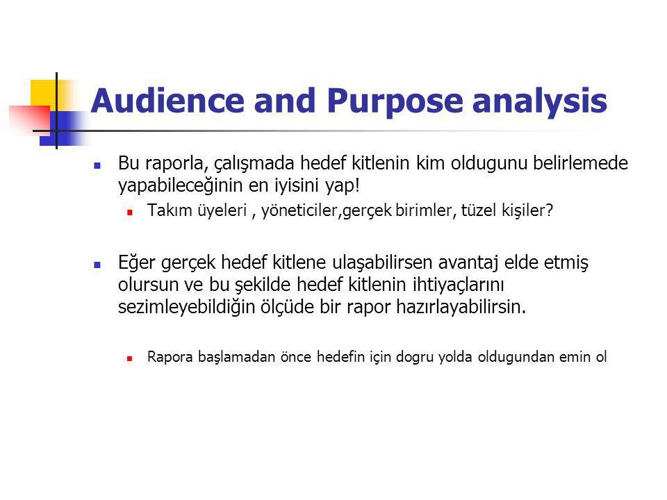 Audience and Purpose analysis Bu raporla, çalışmada hedef kitlenin kim oldugunu belirlemede yapabileceğinin en iyisini yap! Takım üyeleri, yöneticiler
