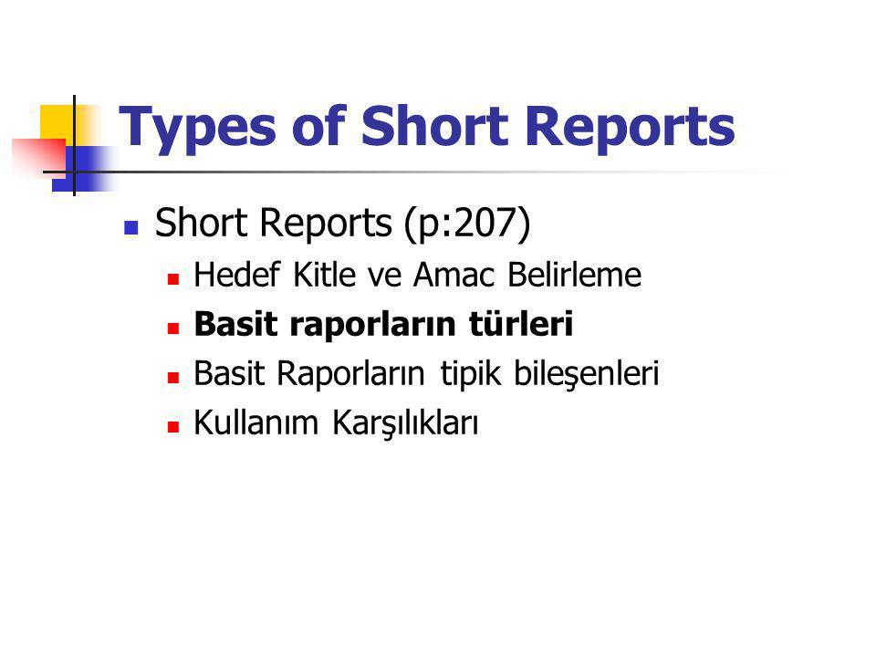 Types of Short Reports Durumlara göre bir çok rapor çeşidi bulunmaktadır Rapor genellikle bunlardan ibarettir: Recommendations (öneriler): Öneri içeren raporlar yorumlara dayalı, kendi kafalarında sonuçlara uygun şekiller figurize eder ve kendi yorumlarını oluşturur ve önerilerini yaparlar genellikle etkilendikleri özel bi olguyu ihtiva ederler.
