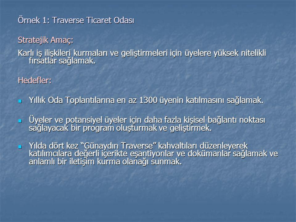 Örnek 1: Traverse Ticaret Odası Stratejik Amaç: Karlı iş ilişkileri kurmaları ve geliştirmeleri için üyelere yüksek nitelikli fırsatlar sağlamak. Hede