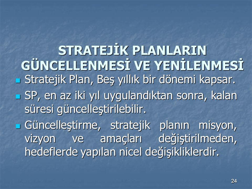 24 STRATEJİK PLANLARIN GÜNCELLENMESİ VE YENİLENMESİ Stratejik Plan, Beş yıllık bir dönemi kapsar. Stratejik Plan, Beş yıllık bir dönemi kapsar. SP, en