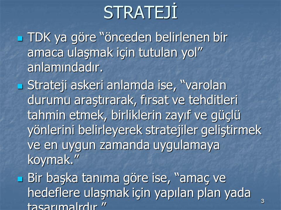 EYLEM Belirlenen stratejiler çerçevesinde yollardır.