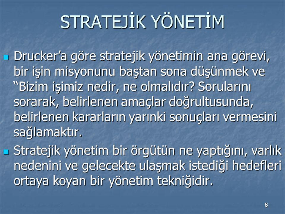 """STRATEJİK YÖNETİM Drucker'a göre stratejik yönetimin ana görevi, bir işin misyonunu baştan sona düşünmek ve """"Bizim işimiz nedir, ne olmalıdır? Sorular"""