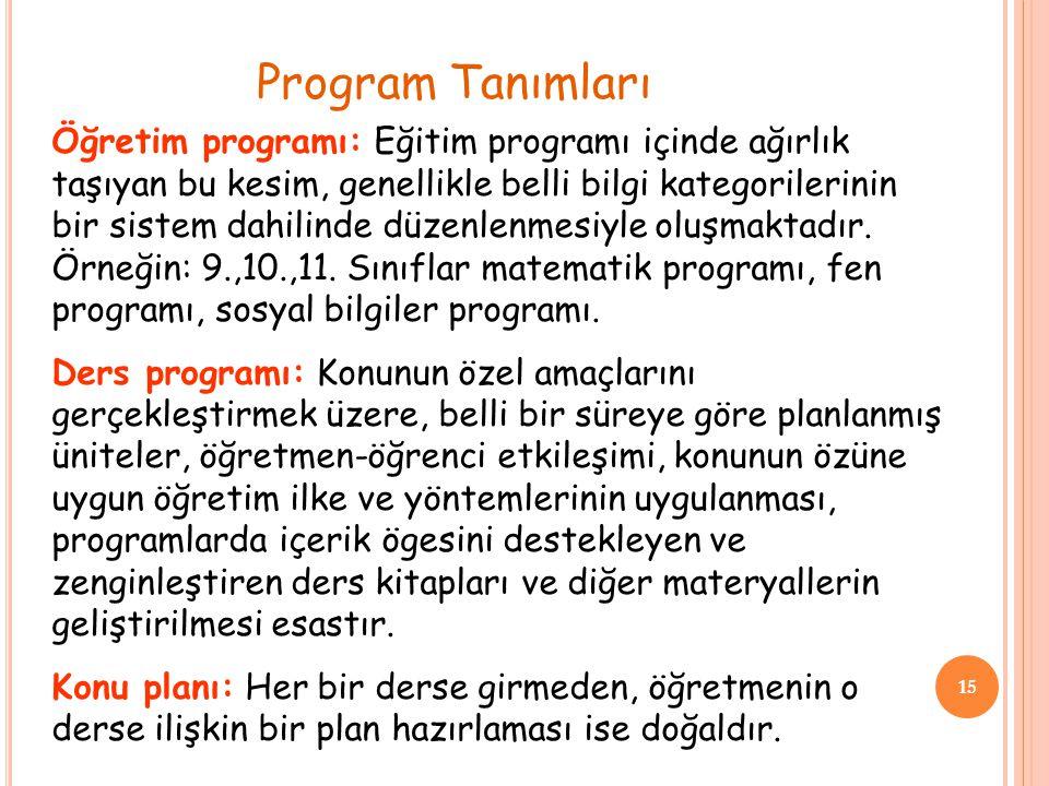 15 Öğretim programı: Eğitim programı içinde ağırlık taşıyan bu kesim, genellikle belli bilgi kategorilerinin bir sistem dahilinde düzenlenmesiyle oluş