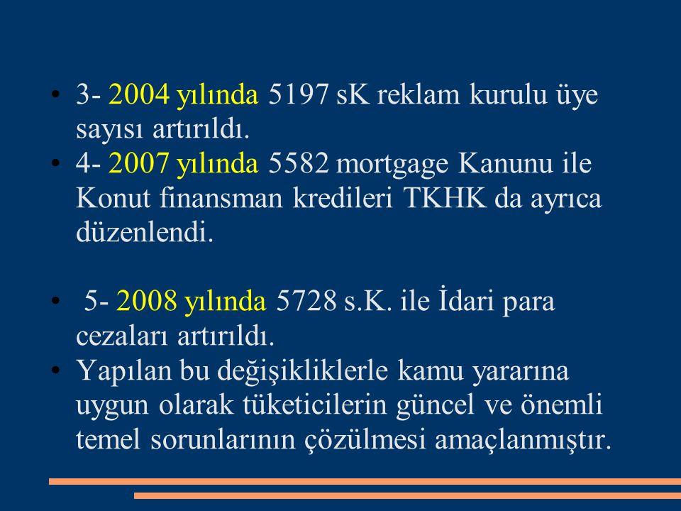 3- 2004 yılında 5197 sK reklam kurulu üye sayısı artırıldı. 4- 2007 yılında 5582 mortgage Kanunu ile Konut finansman kredileri TKHK da ayrıca düzenlen