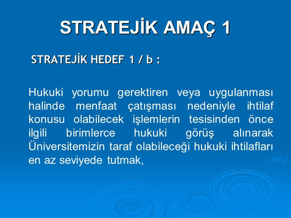 STRATEJİK AMAÇ 1 STRATEJİK HEDEF 1 / b : STRATEJİK HEDEF 1 / b : Hukuki yorumu gerektiren veya uygulanması halinde menfaat çatışması nedeniyle ihtilaf