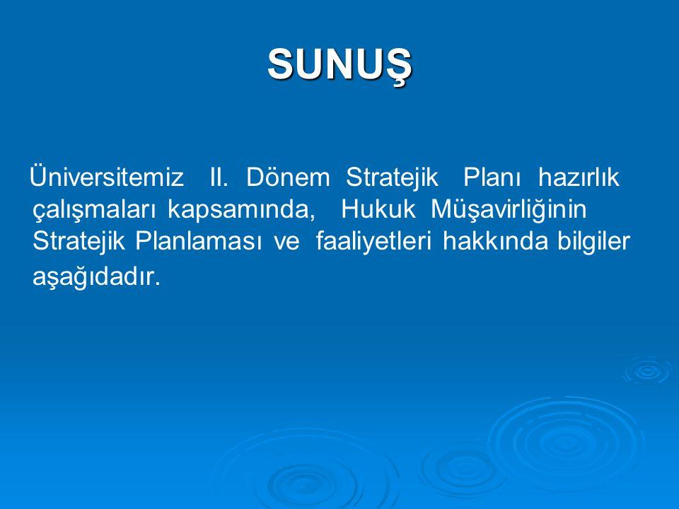 SUNUŞ Üniversitemiz II. Dönem Stratejik Planı hazırlık çalışmaları kapsamında, Hukuk Müşavirliğinin Stratejik Planlaması ve faaliyetleri hakkında bilg