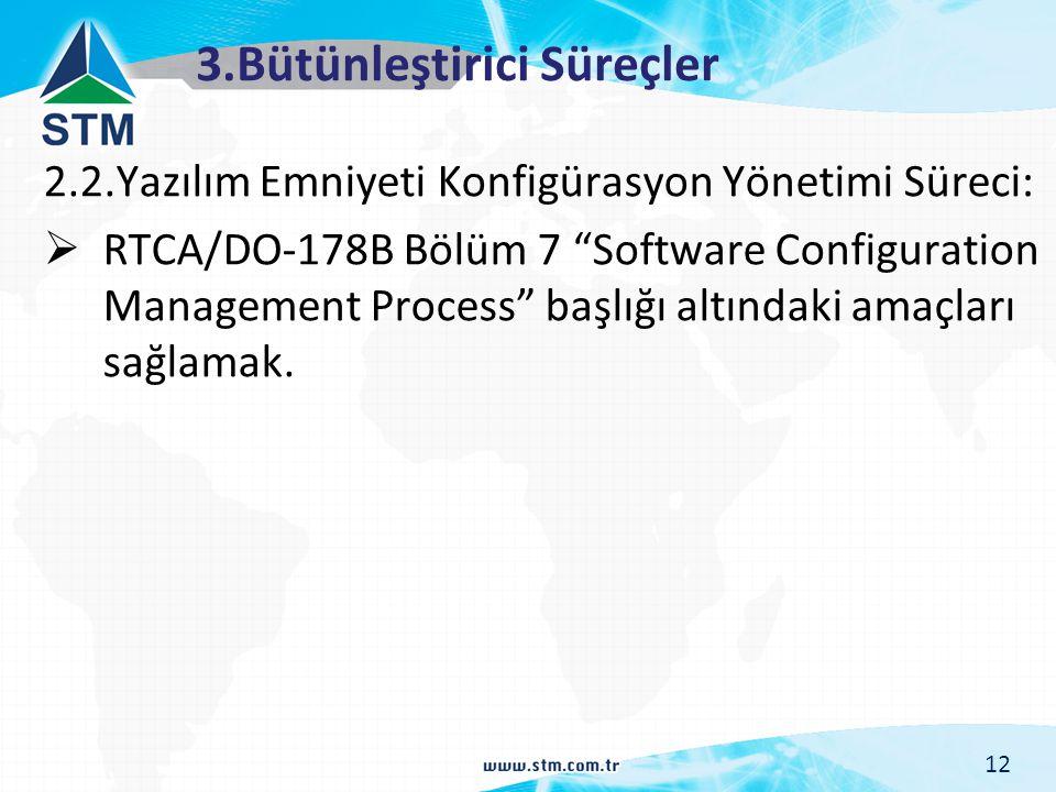 """3.Bütünleştirici Süreçler 2.2.Yazılım Emniyeti Konfigürasyon Yönetimi Süreci:  RTCA/DO-178B Bölüm 7 """"Software Configuration Management Process"""" başlı"""
