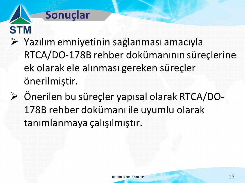 Sonuçlar  Yazılım emniyetinin sağlanması amacıyla RTCA/DO-178B rehber dokümanının süreçlerine ek olarak ele alınması gereken süreçler önerilmiştir. 
