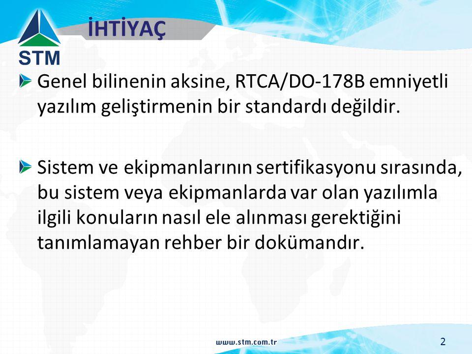 İHTİYAÇ Genel bilinenin aksine, RTCA/DO-178B emniyetli yazılım geliştirmenin bir standardı değildir. Sistem ve ekipmanlarının sertifikasyonu sırasında