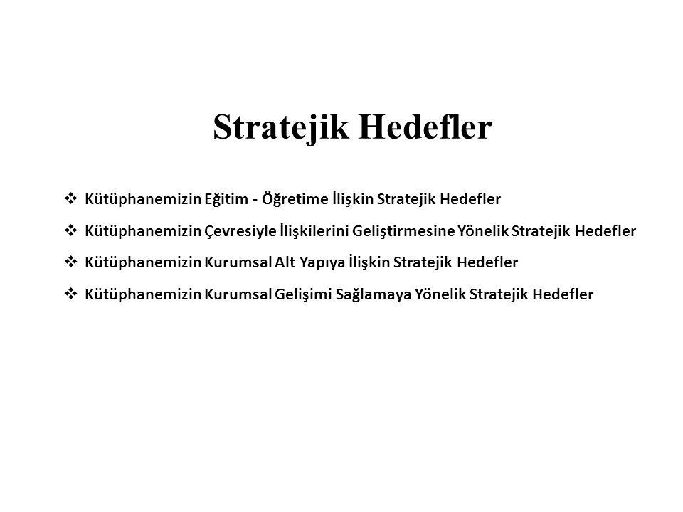 Stratejik Hedefler  Kütüphanemizin Eğitim - Öğretime İlişkin Stratejik Hedefler  Kütüphanemizin Çevresiyle İlişkilerini Geliştirmesine Yönelik Strat