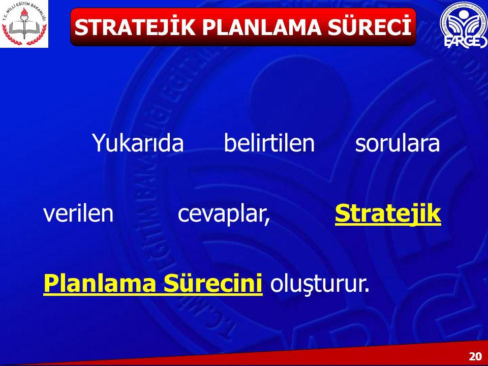 20 Yukarıda belirtilen sorulara verilen cevaplar, Stratejik Planlama Sürecini oluşturur.