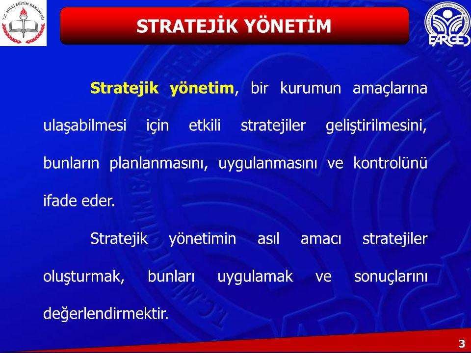 3 Stratejik yönetim, bir kurumun amaçlarına ulaşabilmesi için etkili stratejiler geliştirilmesini, bunların planlanmasını, uygulanmasını ve kontrolünü ifade eder.