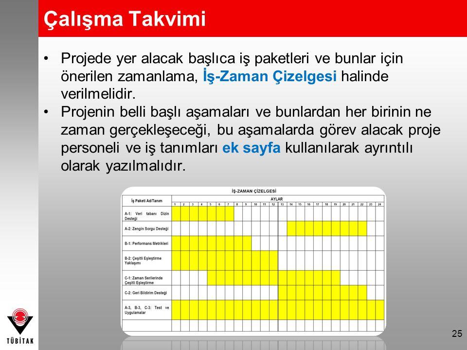 Projede yer alacak başlıca iş paketleri ve bunlar için önerilen zamanlama, İş-Zaman Çizelgesi halinde verilmelidir. Projenin belli başlı aşamaları ve