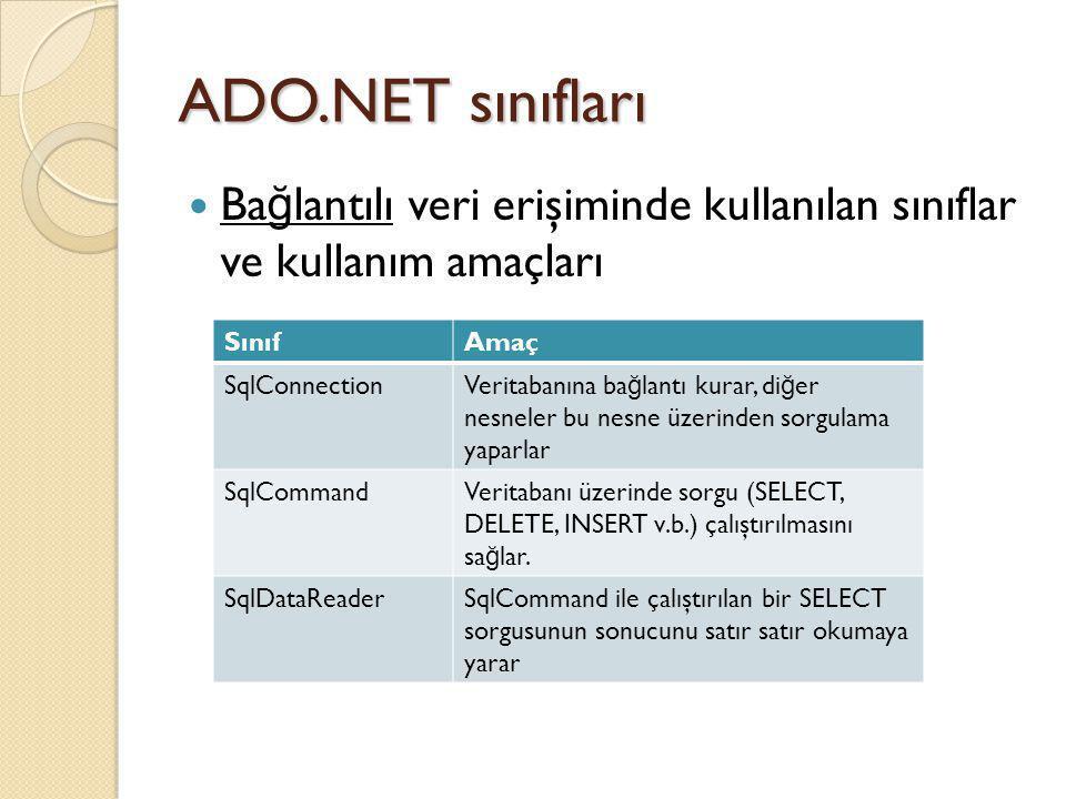 ADO.NET sınıfları Ba ğ lantılı veri erişiminde kullanılan sınıflar ve kullanım amaçları SınıfAmaç SqlConnectionVeritabanına ba ğ lantı kurar, di ğ er