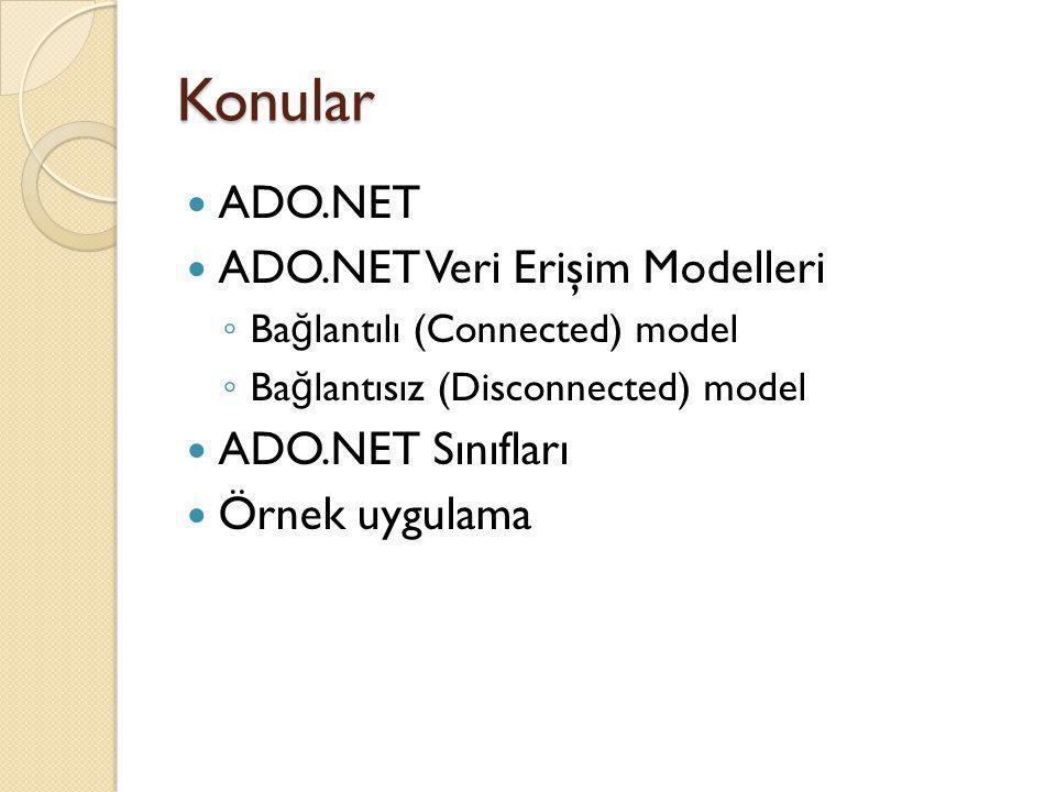 Konular ADO.NET ADO.NET Veri Erişim Modelleri ◦ Ba ğ lantılı (Connected) model ◦ Ba ğ lantısız (Disconnected) model ADO.NET Sınıfları Örnek uygulama