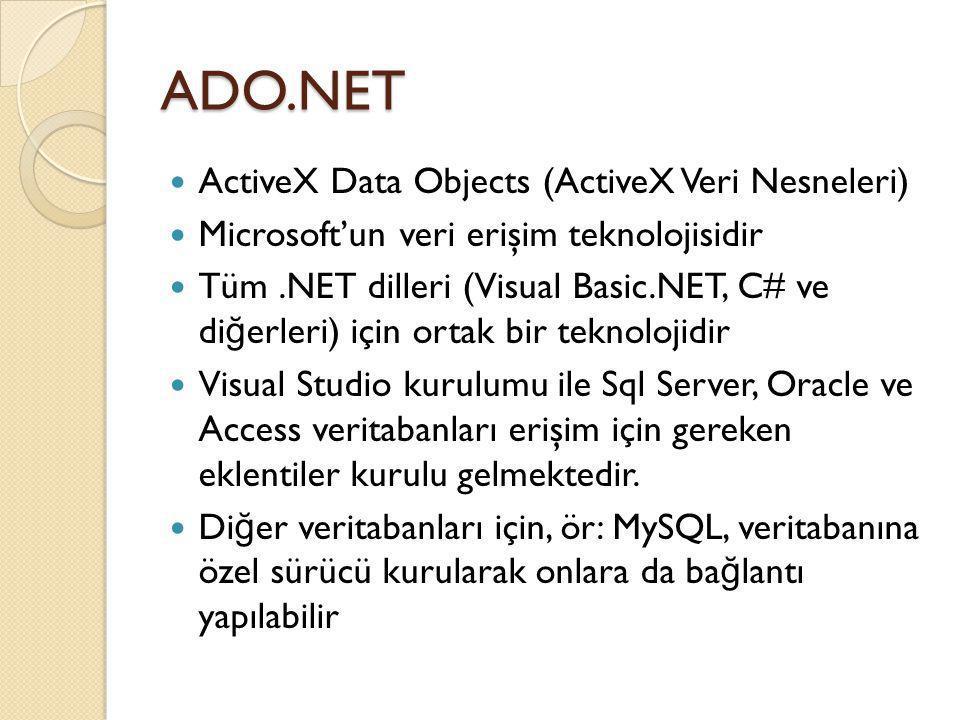 ADO.NET ActiveX Data Objects (ActiveX Veri Nesneleri) Microsoft'un veri erişim teknolojisidir Tüm.NET dilleri (Visual Basic.NET, C# ve di ğ erleri) iç