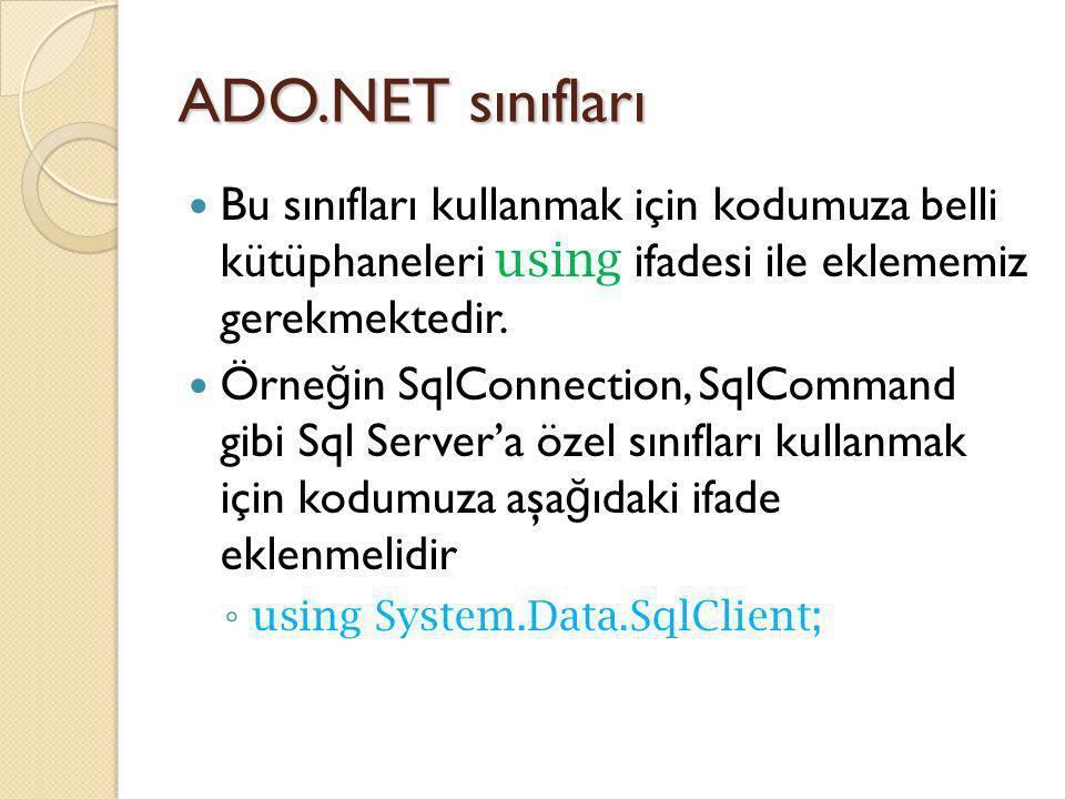 ADO.NET sınıfları Bu sınıfları kullanmak için kodumuza belli kütüphaneleri using ifadesi ile eklememiz gerekmektedir. Örne ğ in SqlConnection, SqlComm