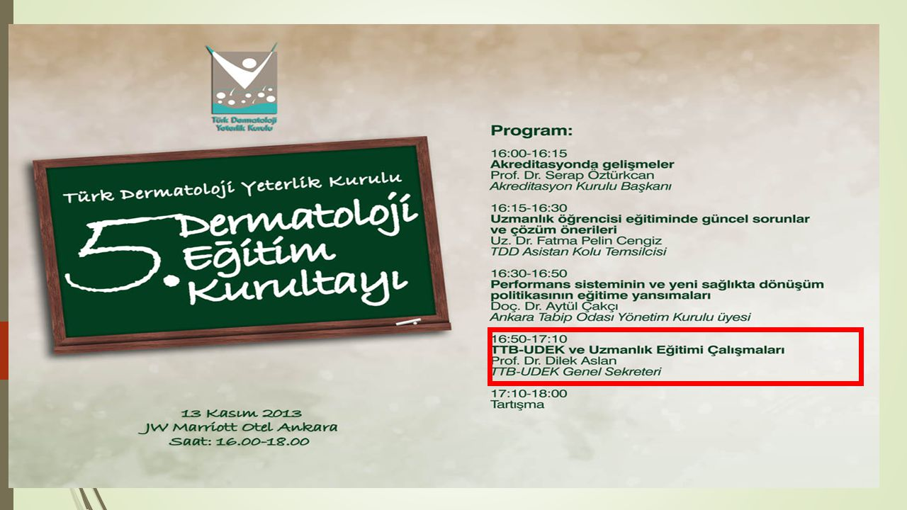 TTB-UDEK ve UZMANLIK EĞİTİMİ ÇALIŞMALARI Dilek ASLAN TTB-UDEK-UYEK Genel Sekreteri 13 Kasım 2013, Ankara
