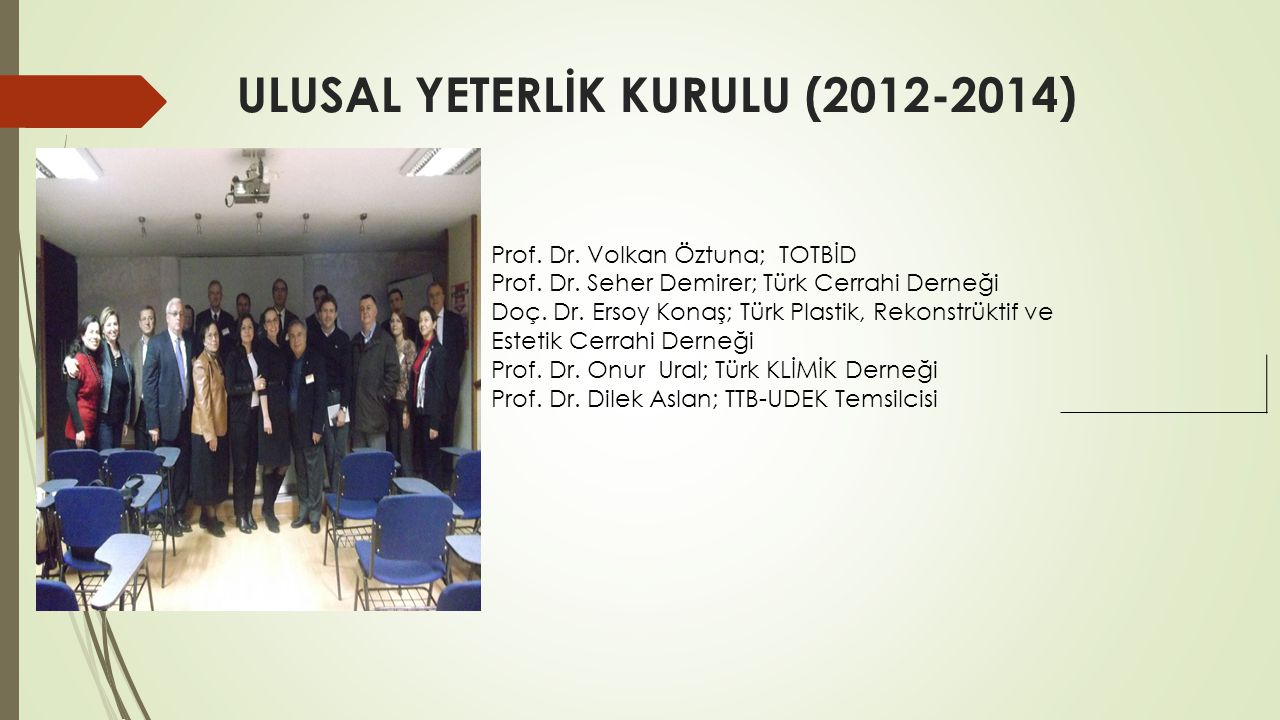 ULUSAL YETERLİK KURULU (2012-2014) Prof. Dr. Volkan Öztuna; TOTBİD Prof. Dr. Seher Demirer; Türk Cerrahi Derneği Doç. Dr. Ersoy Konaş; Türk Plastik, R